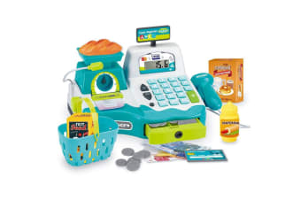 Blue Electronic Kids Toy Cash Register with Scanner