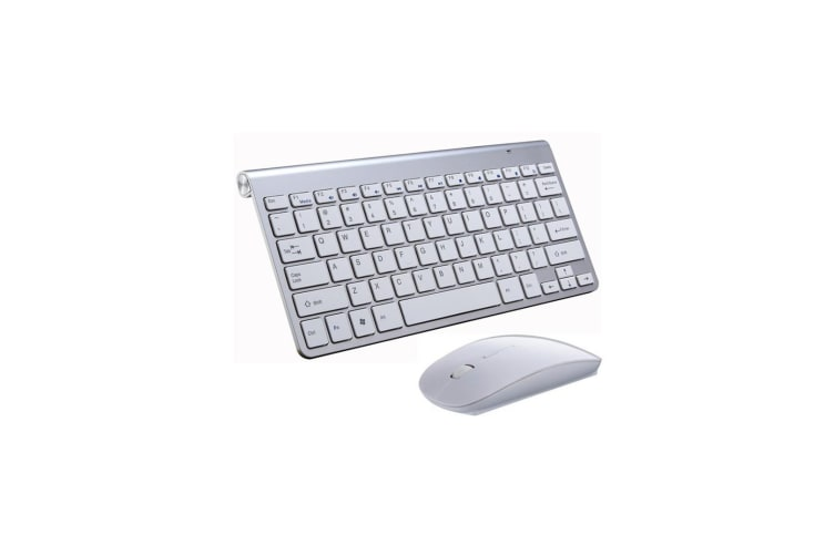 wireless compact portable mini keyboard and mouse combo set silver silver. Black Bedroom Furniture Sets. Home Design Ideas