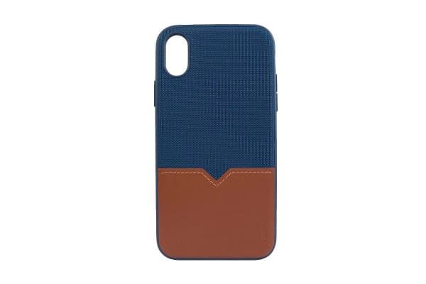 Evutec iPhone XR Northill Case with BONUS AFIX+ Magnetic Car Mount - Blue/Saddle