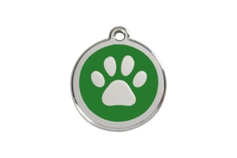 Red Dingo Pet Collar Identification Tag - Paw Print (Green) (Small)