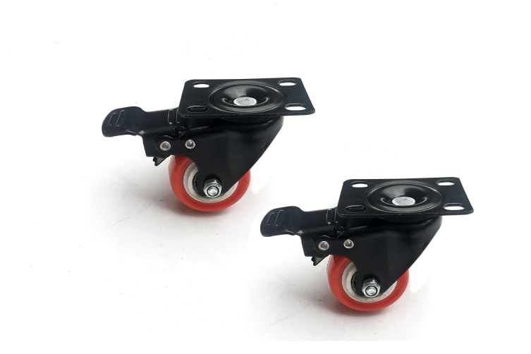 "8 x 2"" Polyurethane Castor Wheels - Swivel and 4 with brake"