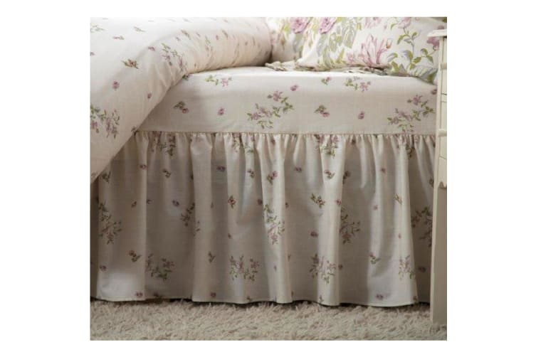 Belledorm Rose Boutique Fitted Valance (Ivory/Pink/Green) (Double)