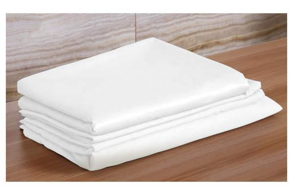 Luxury Super Soft Silky Satin Fitted/ Flat Sheet Pillowcases Bed Set WHITE Double