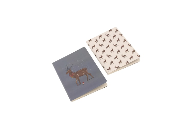 Deck The Halls Stag Notebooks (Pack Of 2) (Blue/White) (A6)