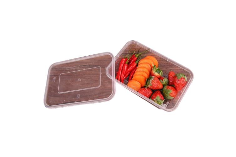 200 Pcs 1000ml Take Away Food Platstic Containers Boxes Base and Lids Bulk Pack
