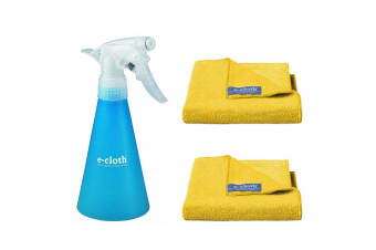 E-Cloth Water Spray Bottle Container w 2pc E-Cloth Bathroom Cloths Towels Yellow