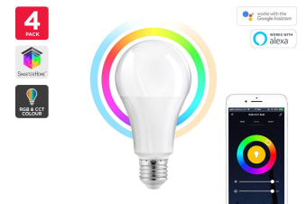 Kogan SmarterHome™10W RGB + CCT Colour & Warm/Cool White Smart Bulb (E27) - Pack of 4