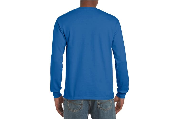 Gildan Mens Plain Crew Neck Ultra Cotton Long Sleeve T-Shirt (Royal) (2XL)