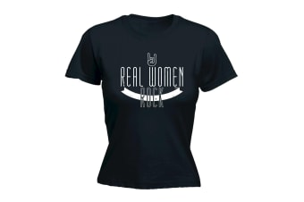 123t Music Tee - Real Women Rock - (X-Large Black Womens T Shirt)