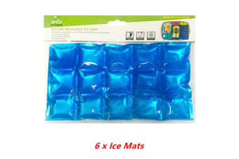 6 x Reusable Ice Mat Cooling Cold Storage Cooler Flexible Food Picnic Party Thermo
