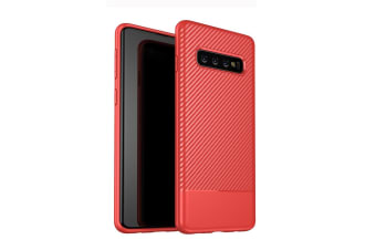 For Samsung Galaxy S10 Case Red Carbon Fiber Texture TPU Protective Back Shell