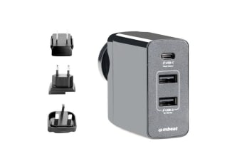 mbeat GorillaPower 3-Port USB-C World Travel Charger with Interchangeable Plugs