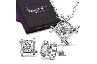 Majestic Beauty Necklace And Earrings Set w/Swarovski Crystals-White Gold/Clear