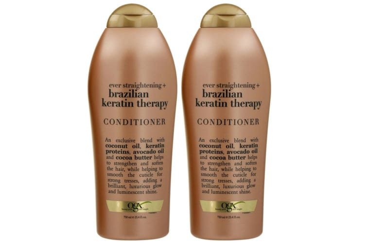 2x OGX 750ml Keratin Ever Straightening Hair Care Brazilian Therapy Conditioner