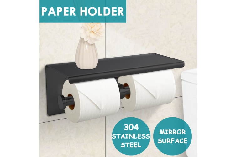 Stainless Steel Paper Roll Holders Towel Tissue Bath Toilet Double Storage Hooks