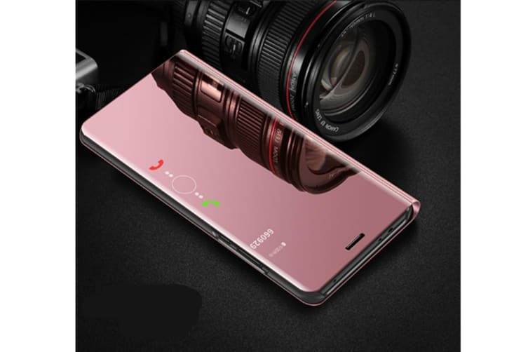Mirror Case Translucent Flip Full Protection Mobile Phone Stand For Huawei Rose Gold Huawei Y6Prime(2018)