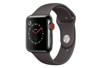Apple Watch Series 3 Refurbished (Grey, Stainless Steel, 42mm, Sports Black, GPS + Cellular) - A Grade