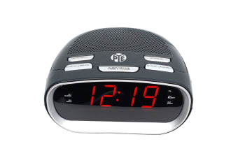 PYE AM/FM Alarm Digital Clock Radio w/LED Display/Snooze for Bedside Table Grey