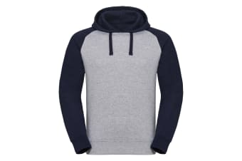 Russel Mens Authentic Hooded Baseball Sweatshirt (Light Oxford/Indigo Melange) (2XL)
