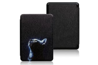 Magnetic Cover Protective Shell Smart Case For All-new Kindle 10th Gen 2019-Brown-Night Cat