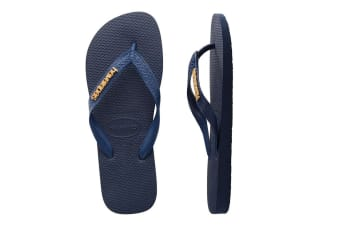 Havaianas Logo Metallic Thongs (Navy Blue)