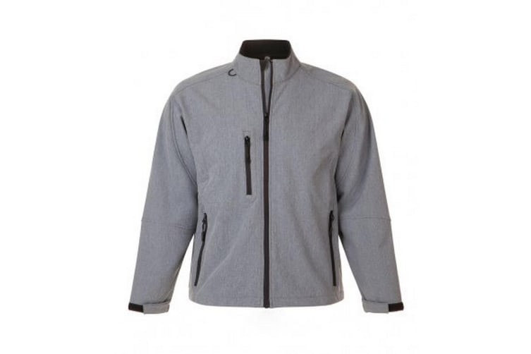 SOLS Mens Relax Soft Shell Jacket (Breathable  Windproof And Water Resistant) (Grey Marl) (4XL)