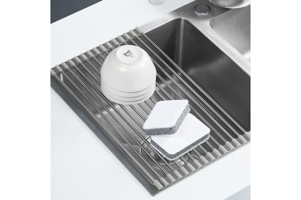 D.line Over Sink Roll-Up Draining Board Rack Stainless Steel Dish Rack