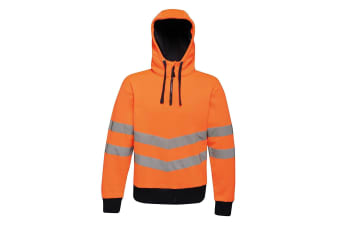 Regatta Mens Hi Vis Pro Overhead Stretch Reflective Hoodie (Orange/Navy)