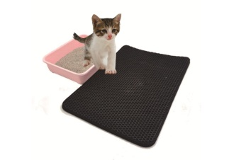 Cat Litter Mat, Kitty Litter Trapping Mat, Litter Box Rug Carpet, Honeycomb Double Layer, No Phthalate, Urine Waterproof,Litter Trapper Catcher-BLACK