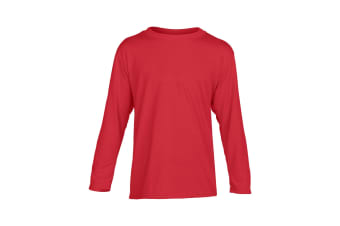 Gildan Childrens/Kids Unisex Performance Youth Long Sleeve T-Shirt (Red)