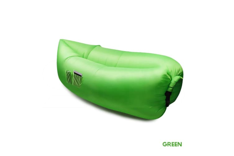 New Inflatable Air Bag Sofa Lounge Sleeping bag Camping Bed Outdoor Beach Couch  -  Green x1