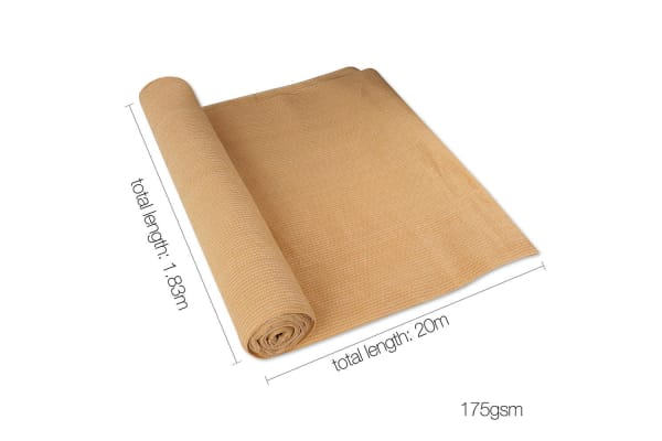 20M 70% Shade Cloth Roll -1.83M x 20M (Sandstone)