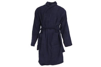 Pierre Roche Mens Super Soft Towelling/Dressing Gown (Navy)