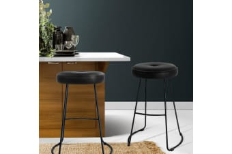 Artiss 2x Bar Stools Industrial Bar Stool Modern Dining Chair Leather Black