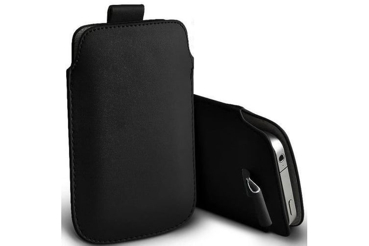 "Apple iPhone 11 Pro Max (6.5"") Black Pull Tab Slim Faux Leather Pouch Sleeve Case by MEZON – Shock Absorption, Wireless Charging Compatible (iPhone 11 Pro, Black) – FREE EXPRESS"