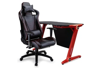 OVERDRIVE Gaming Chair Desk Racing Seat Setup PC Black Combo Office Lighting LED
