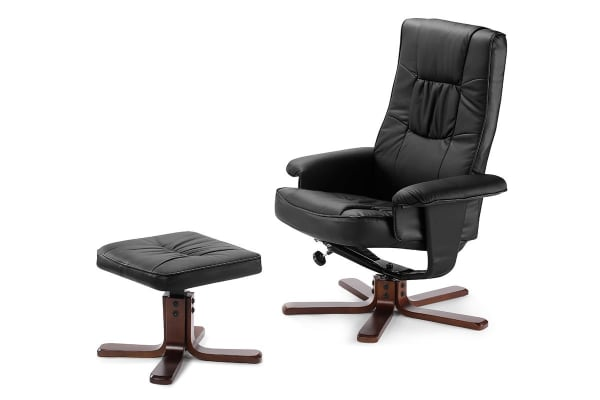Ergolux Madison Recliner Chair with Ottoman (Black)