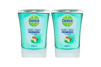 2x Dettol 250ml No-Touch/Automatic Hand Wash Soap System Refill Cucumber/Melon