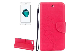 For iPhone 8 PLUS 7 PLUS Wallet Case Fancy Butterflies Leather Cover Magenta