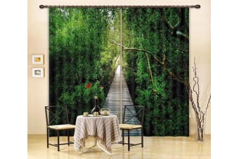 3D Green Trees Wooden Road 377 Curtains Drapes, 203cmx241cm(WxH) 80''x 94''