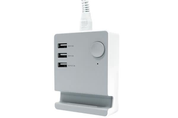Astrotek USB Charging Station Charger Hub 3 Port 5V 4A with 1.5m Power Cable White for iPhone Samsung iPad Tablet GPS