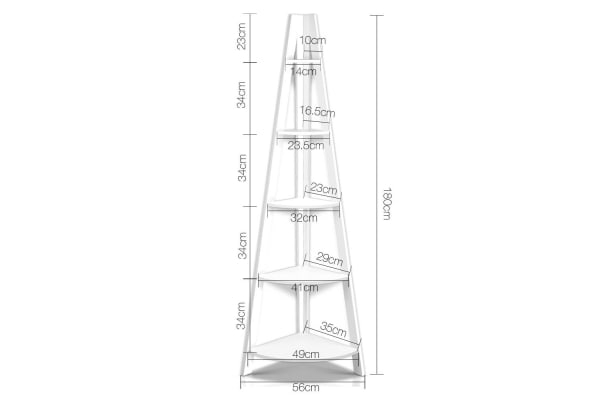 5 Tier Corner Ladder Bookshelf (White)