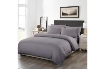 Royal Comfort 1200TC Fitted Sheet Quilt Cover and Pillowcase Combo Set UltraSoft - Double - Charcoal