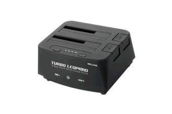 "Welland Turbo Leopard ME-603S 2.5"" + 3.5"" SATA to USB3.0 DUAL BAY HDD Docking Enclosure - Black"