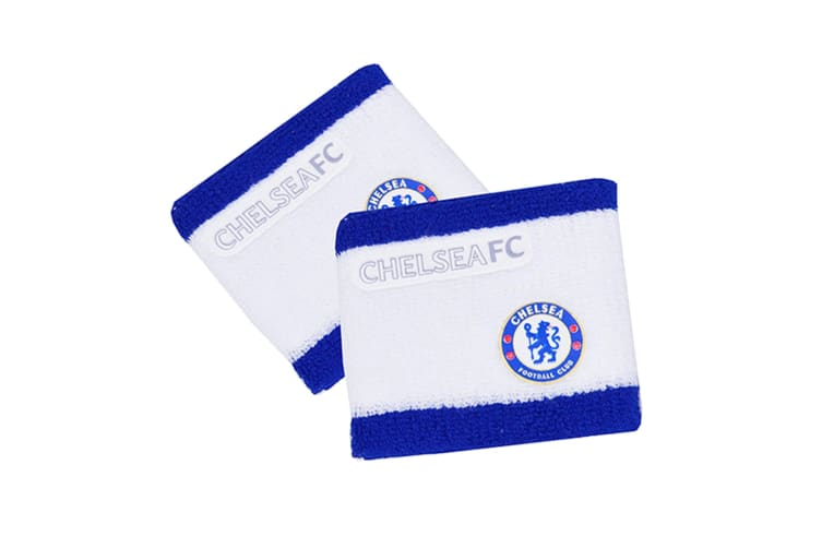 Chelsea FC Official 2 Tone Football Crest Sport Wristbands (Pack Of 2) (White/Blue) (One Size)