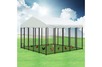 New Pet Dog Kennel Run Enclosure 3x3x2.1m Galvanised Steel Play Pen Fence w/Fabric Cover