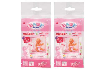 2x 5pc Baby Born Doll Nappies/Diaper Doll's Accessories for 43cm Kids Dolls 3y+