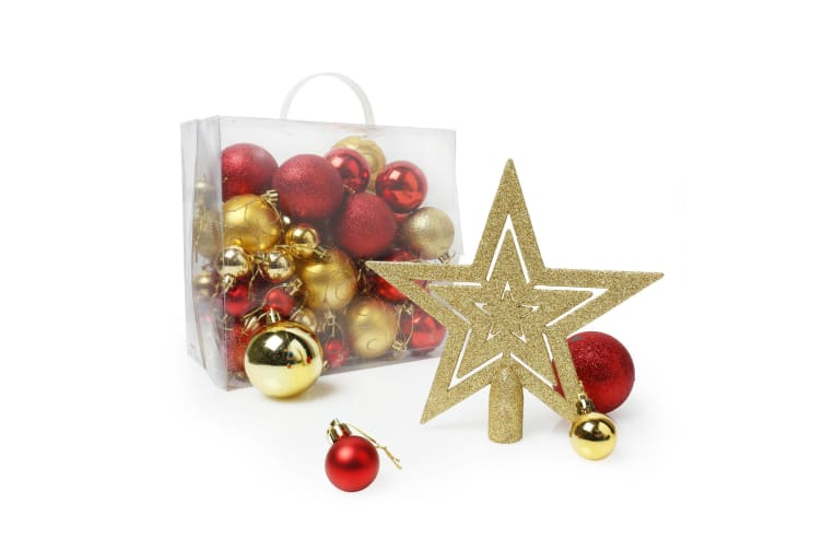 Christmas Shop Assorted 50 Piece Christmas Tree Decoration Pack (Red / Gold) (One size)