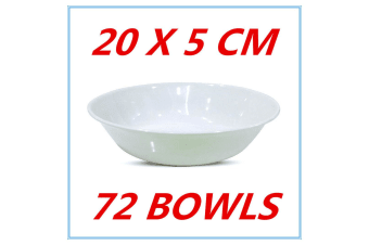 72 X GLOSSY WHITE MELAMINE ROUND CEREAL BOWLS BOWL PARTY FUNCTION EVENT FD