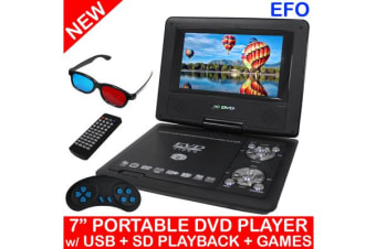 "Portable 7"" Lcd Dvd Player Rechargeable Battery Usb Sd Game Avi Mpeg4 Mp3 Divx"